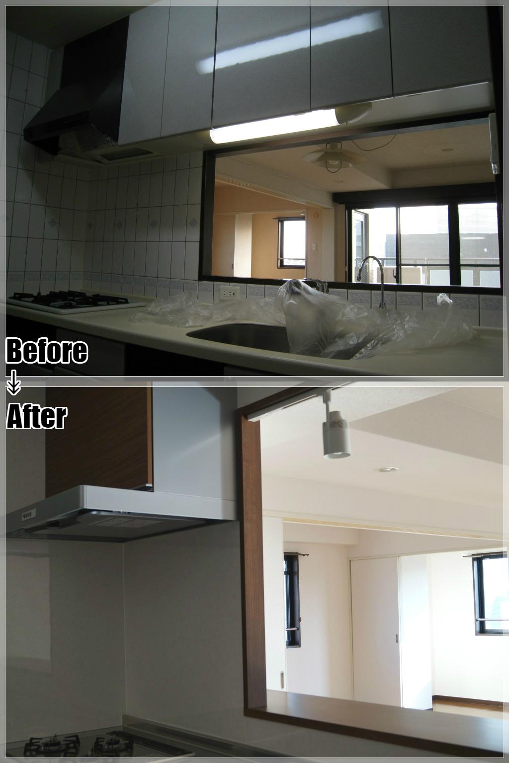 マンションリフォームの施工事例 Case.10 対面キッチン 開口部