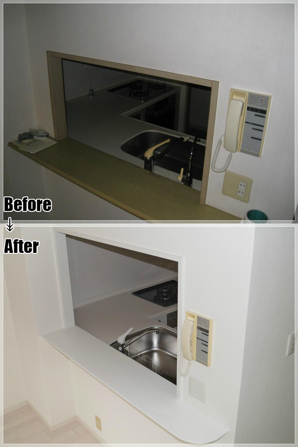 マンションリフォームの施工事例 Case.25 対面キッチン開口部